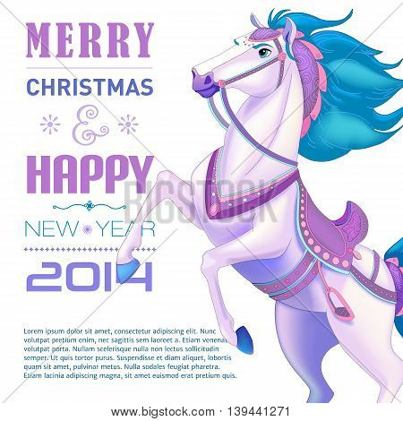 New Year Card for Year of the horse. Vector illustration.