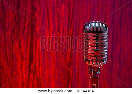 Retro Glamour (Microphone With Light Glints). red background