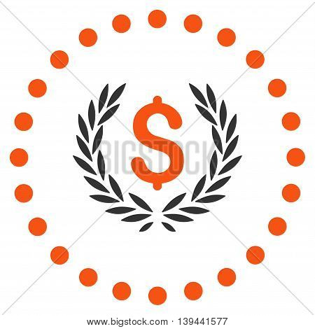 Laurel Bank Emblem vector icon. Style is bicolor flat circled symbol, orange and gray colors, rounded angles, white background.