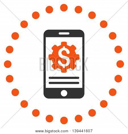 Mobile Bank Options vector icon. Style is bicolor flat circled symbol, orange and gray colors, rounded angles, white background.