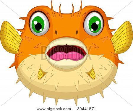 cute Blow fish cartoon look at camera