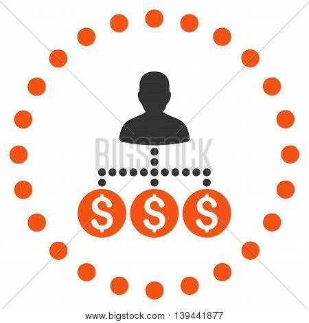 Money Collector vector icon. Style is bicolor flat circled symbol, orange and gray colors, rounded angles, white background.