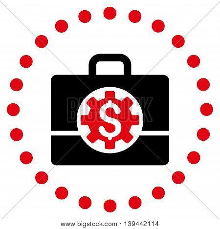 Bank Career Options vector icon. Style is bicolor flat circled symbol, intensive red and black colors, rounded angles, white background.