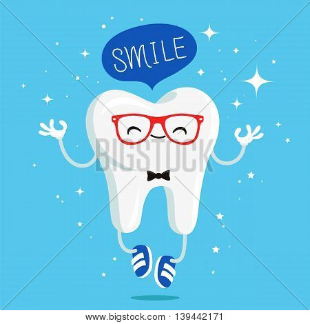Happy healthy tooth in red glasses and blue sneakers. Vector illustration on a blue background. Concept of children's dentistry. Excellent dental card. Cute character. Caries prevention.