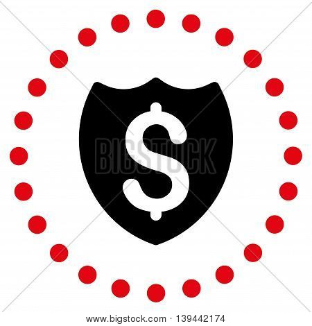 Bank Insurance vector icon. Style is bicolor flat circled symbol, intensive red and black colors, rounded angles, white background.