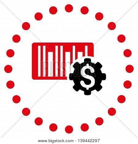 Barcode Price Setup vector icon. Style is bicolor flat circled symbol, intensive red and black colors, rounded angles, white background.
