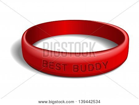 Red plastic wristband with the inscription - BEST BUDDY. Friendship band isolated on white background. Realistic vector illustration for International Friendship Day