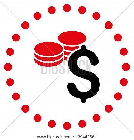 Dollar Coins vector icon. Style is bicolor flat circled symbol, intensive red and black colors, rounded angles, white background.