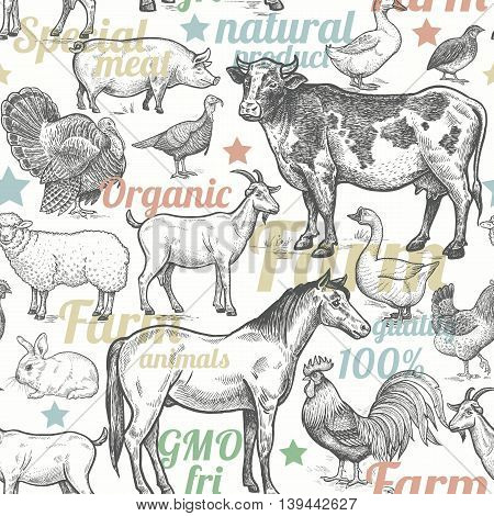 Seamless pattern with livestock, poultry, inscriptions. Farm birds and animals in the style of vintage engraving. Vector illustration. Design for packaging farm products and  farm food shops.