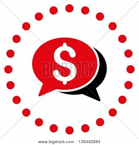 Financial Chat vector icon. Style is bicolor flat circled symbol, intensive red and black colors, rounded angles, white background.