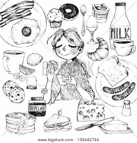 Vector set. Breakfast. Girl with biscuits scrambled eggs bacon croissant donut yogurt milk bread sausages cheese butter sandwich pancakes muffins jam tea coffee eclairs lemon salt.
