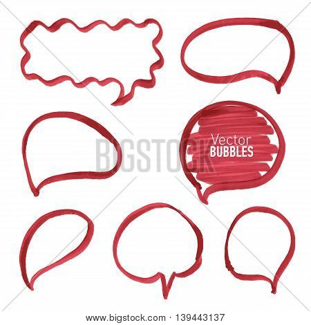 Set of hand drawn red marker bubbles. Vector illustration.