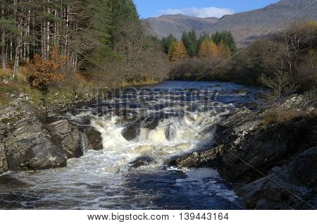 Falls on the River Orchy in the Highlands near Glen Orchy Argyll Scotland