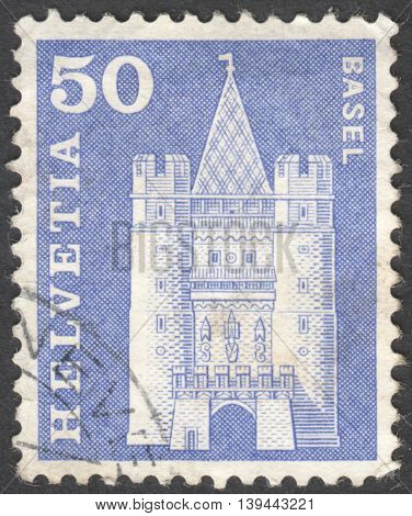 MOSCOW RUSSIA - CIRCA JANUARY 2016: a post stamp printed in SWITZERLAND shows Spalentor gate Basel the series