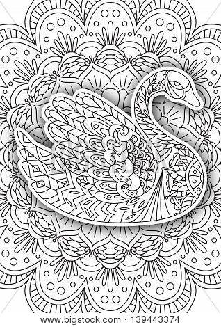 Printable coloring book page for adults - swan design, activity to older children and relax adult. vector coloring book with Islam, Arabic, Indian, ottoman motifs. Oriental outline mandala.