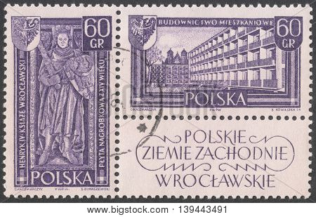 MOSCOW RUSSIA - CIRCA JANUARY 2016: a post stamp printed in POLAND shows Tombstone of Duke Henry IV Probus in Wrocław and housebuilding in Wrocław the series