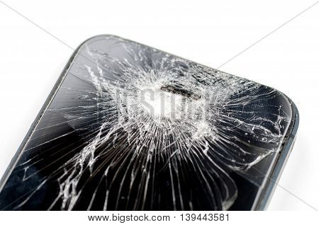 Mobile smartphone with broken screen on white background with.