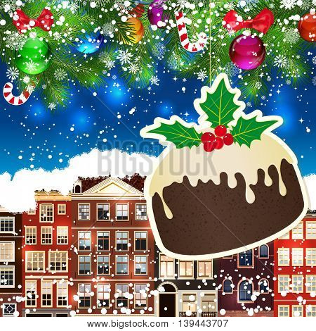Puding on the background of snow-covered streets. New Year design background. Falling snow.  Holiday illustration with place for text.