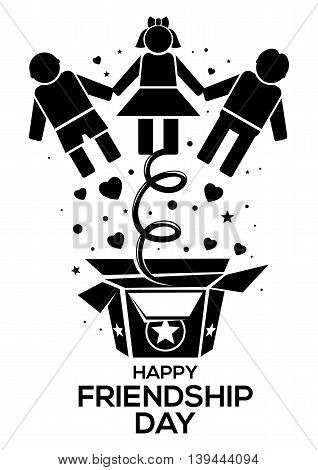 Friendship Day black logo icon isolated on white background. Vector illustration for International Friendship Day
