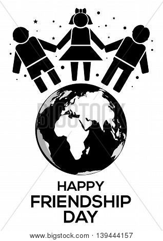 Friendship Day black and white logo icon. Planets Earth people holding hands and inscription Happy Friendship Day. Vector illustration