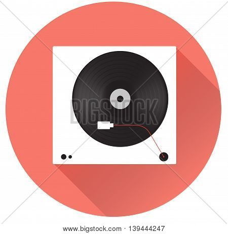 Player for vinyl record. Flat vector illustration.