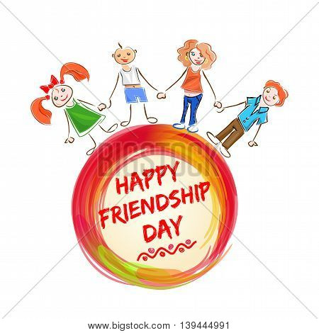 International Friendship Day lettering logo icon. Happy smiling people holding hands on a background of an greeting inscription. Vector illustration