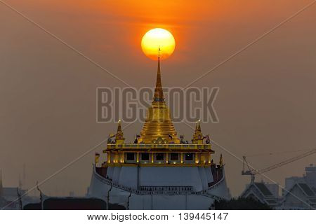 Golden Moutain Temple with sunset in Bangkok province Thailand