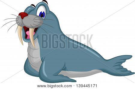 cute Cartoon walrus posing for you design