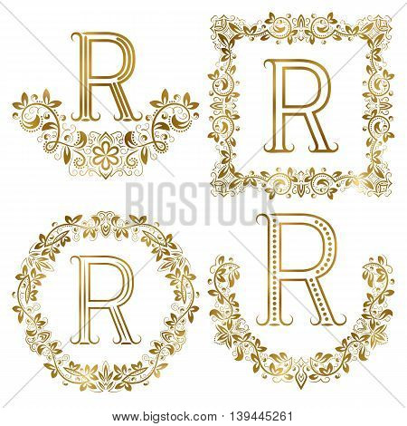 Golden R letter ornamental monograms set. Heraldic symbols in wreaths square and round frames.