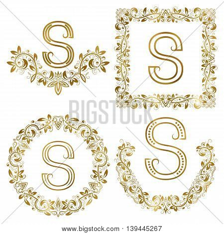 Golden S letter ornamental monograms set. Heraldic symbols in wreaths square and round frames.