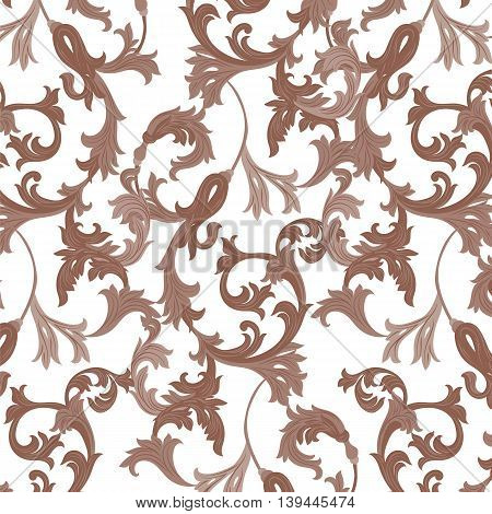 Vector damask pattern ornament. Exquisite Baroque template. Classical luxury fashioned damask ornament Royal Victorian texture for textile wrapping. Brown sugar color ornament