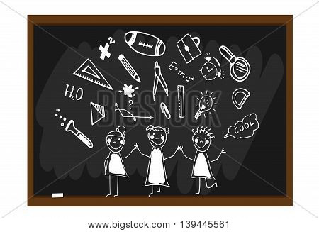 The children draw chalk on a blackboard. Happy and fun children. Hand drawn doodles elements. Doodle, hand drawn sketch, scribble. Back to school background.Vector illustration
