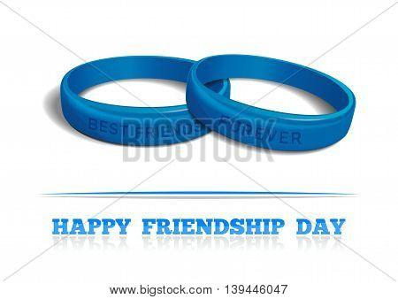 Couple blue friendship bracelet components of the inscription - Best Friends Forever. Friendship Day design. Vector illustration