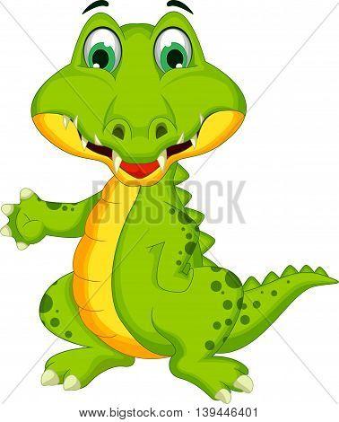 funny crocodile cartoon posing for you design