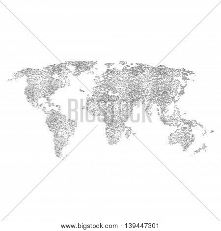 Vector halftone letters world map. Continents for your design. EPS