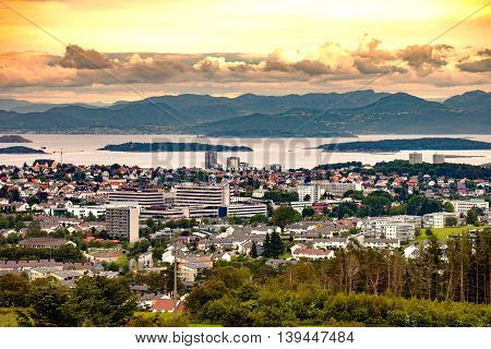 Panoramic view city of Stavanger in Norway.