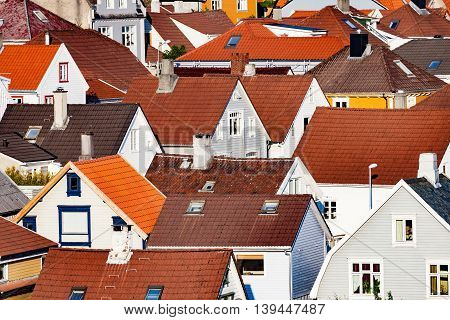 Roof of typical Norwegian houses in Stavanger.