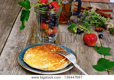 Tasty Pancakes Stack with Strawberry and Currant Studio Photo