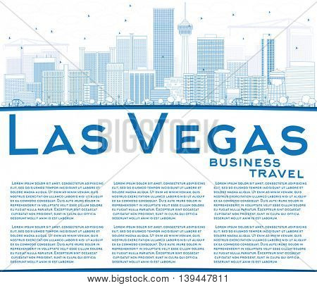 Outline Las Vegas Skyline with Blue Buildings and Copy Space. Business Travel and Tourism Concept with Modern Buildings. Image for Presentation Banner Placard and Web Site.