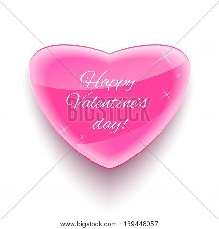 Glass heart for Happy Valentine Day Card. Vector illustration.