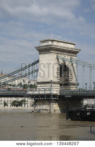 The old chain bridge is one of the most remarkable landmarks in Budapest