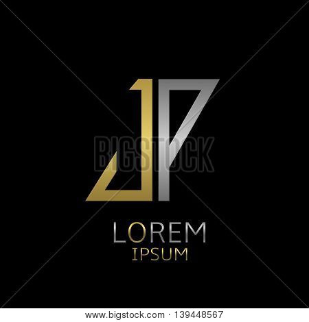 Golden J and silver P letters logo template for your business company