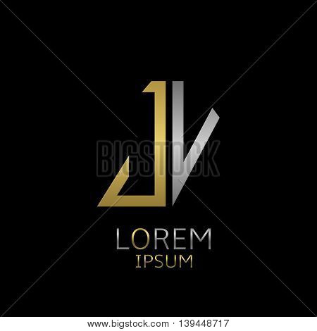 Golden J and silver V letters logo template for your business company