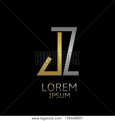 Golden J and silver Z letters logo template for your business company