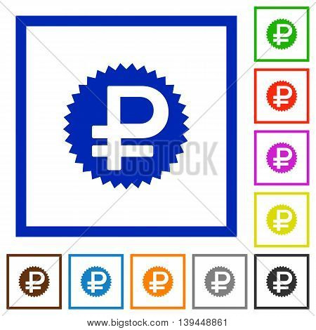 Set of color square framed Ruble sticker flat icons