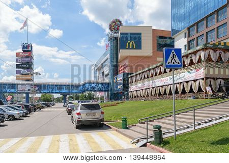 Orel, Russia - June 23, 2016: Pedestrian crossing in front of the Tourist multifunctional shopping center