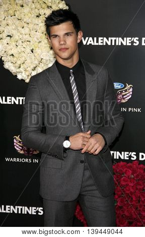 Taylor Lautner at the Los Angeles premiere of 'Valentine's Day' held at the Grauman's Chinese Theater in Hollywood, USA on February 8, 2010.