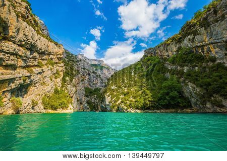 Mercantour National Park, Provence. Azure water of the river Verdon, covered with small ripples in the wind