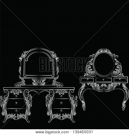 Vector Baroque furniture set Dressing Table and mirror frame. French Luxury rich carved ornaments furniture.Victorian Royal Style furniture. White on black