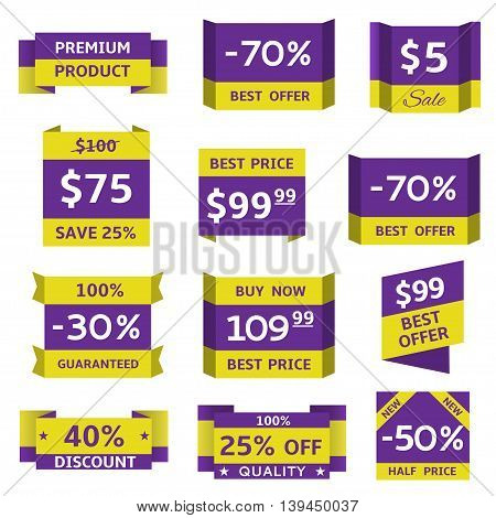 Sale banner set. Price tag set, discount labels
